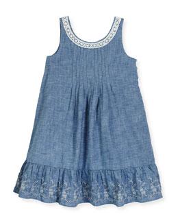 Sleeveless Lace-Trim Chambray Sundress, Blue, Size 2-6X