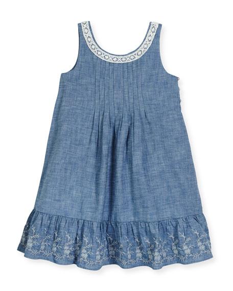 Ralph Lauren Childrenswear Sleeveless Lace-Trim Chambray Sundress, Blue, ...