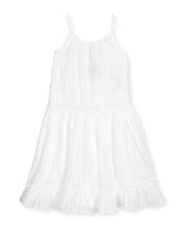 Sleeveless Tiered Lace-Trim Batiste Maxi Dress, White, Size 2-6X