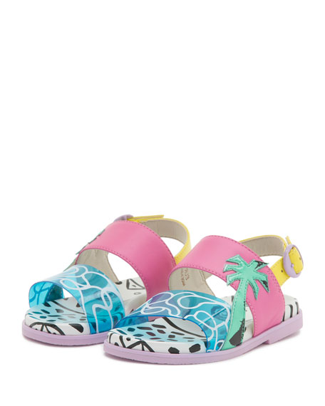 Becky Malibu Mini Sandal, Aqua, Toddler/Youth Sizes 5T-2Y