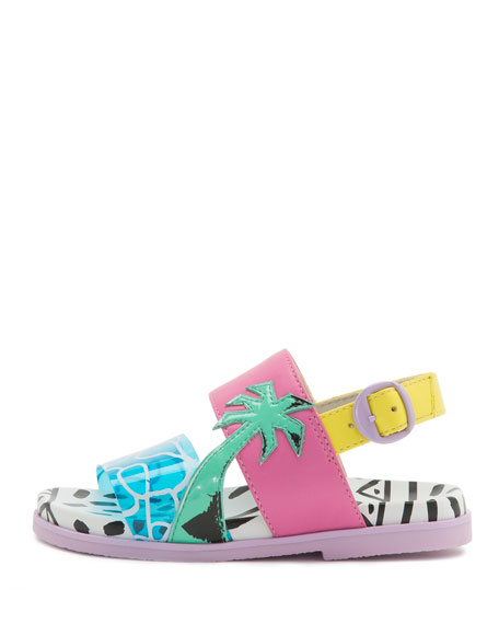 Sophia WebsterBecky Malibu Mini Sandal, Aqua, Sizes 5T-2Y