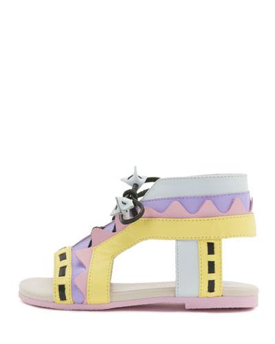 Riko Mini Leather Gladiator Flat Sandal, Pastel Multicolor, Toddler/Youth