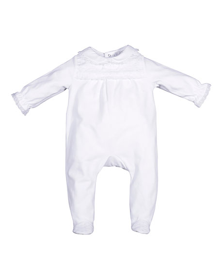 Patachou Collared Ruffle-Trim Footie Pajamas, White, Size 3-9