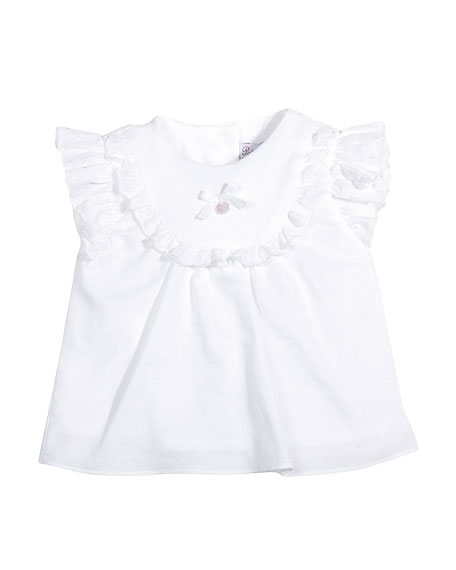 Sleeveless Ruffle-Trim Poplin Blouse, White, Size 3-9 Months