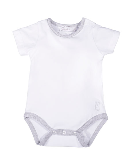PatachouShort-Sleeve Stretch Jersey Playsuit, White/Gray, Size