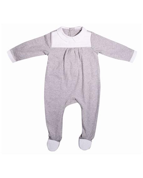 Patachou Collared Pintucked Footie Pajamas, Gray, Size 3-9