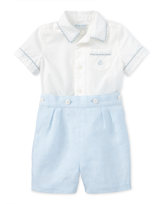 ba2d32ad0 Ralph Lauren Short-Sleeve Cotton Shirt w  Linen Shorts