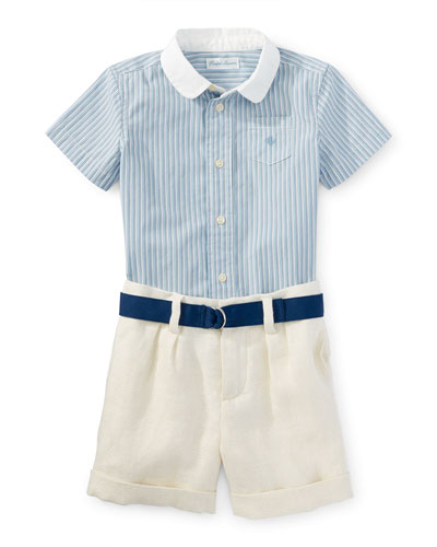 Short-Sleeve Shirt w/ Linen Shorts & Belt, Blue, Size 9-24 Months