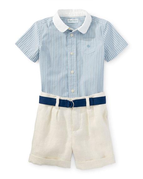 Ralph Lauren Childrenswear Short-Sleeve Shirt w/ Linen Shorts
