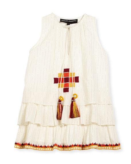 Hemant and Nandita Sleeveless Embroidered Metallic-Stripe Dress,