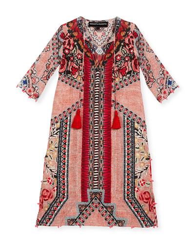 Embroidered Multipattern Silk Maxi Dress, Peach, Size 4-6