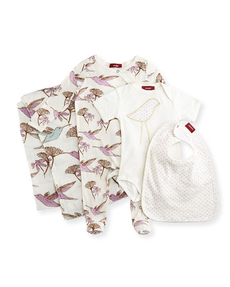 Milkbarn KidsMedium Hummingbird Suitcase Gift Set, Lavender