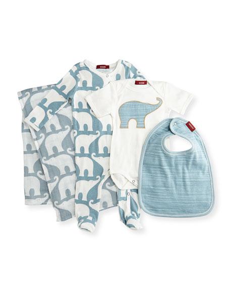 Milkbarn Kids Medium Elephant Suitcase Gift Set, Blue