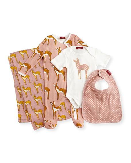 Milkbarn Kids Medium Deer Suitcase Gift Set, Rose