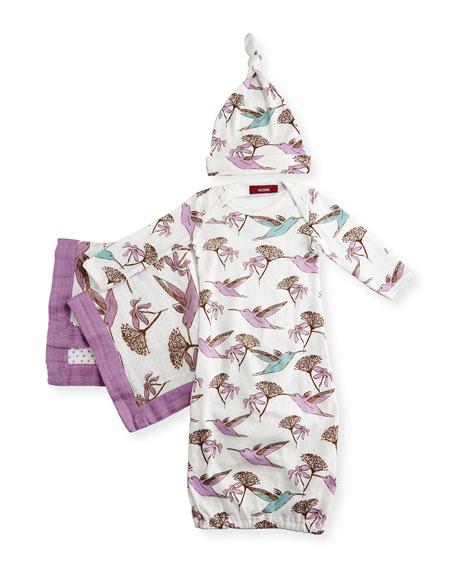 Milkbarn Kids Small Hummingbird Suitcase Gift Set, Lavender
