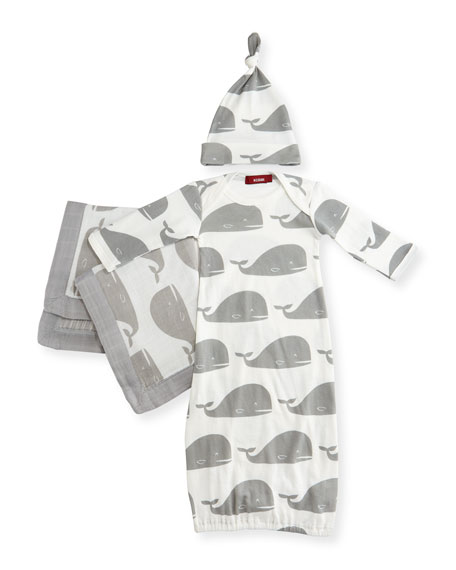 Milkbarn Small Whale Suitcase Gift Set, Gray