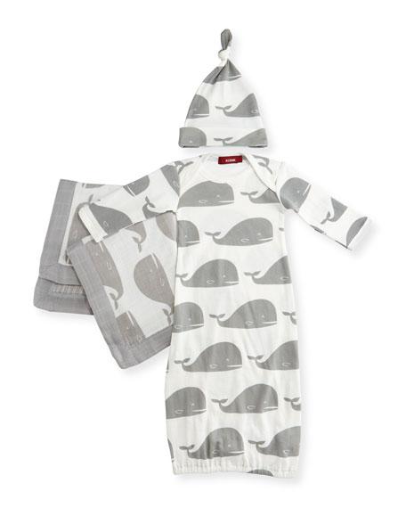 Milkbarn Kids Small Whale Suitcase Gift Set, Gray