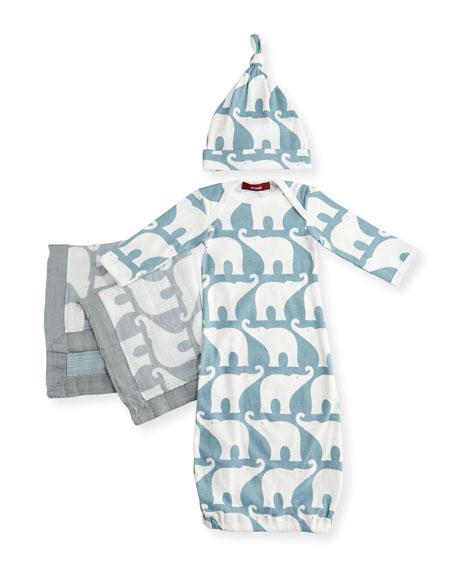 Milkbarn Small Elephant Suitcase Gift Set, Blue