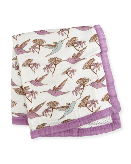 Milkbarn Kids Lovely Hummingbird Blanket, Lavender