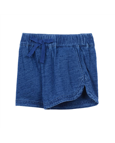 Cotton Chambray Shorts, Medium Stonewash, Size 2T-7