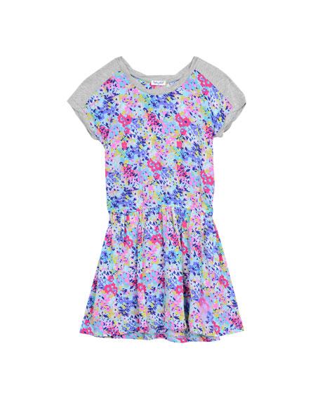 Splendid Cap-Sleeve Floral Jersey Dress, Multicolor, Size 2T-6X