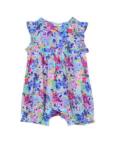 Sleeveless Smocked Floral Playsuit, Blue, Size 0-9 Months