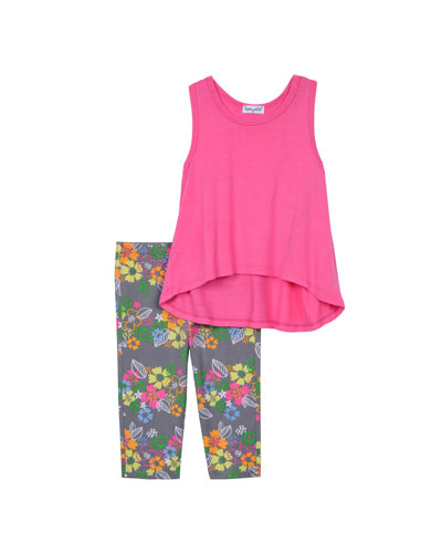 Sleeveless Tunic w/ Floral Leggings, Pink, Size 2T-4T