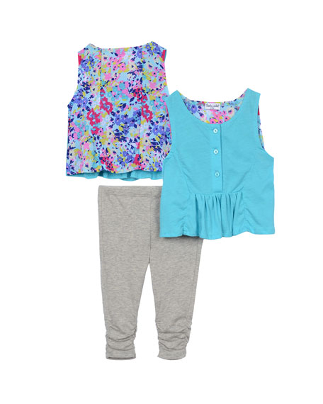 Splendid Floral-Trim Henley Tank w/ Ruched Leggings, Turquoise,