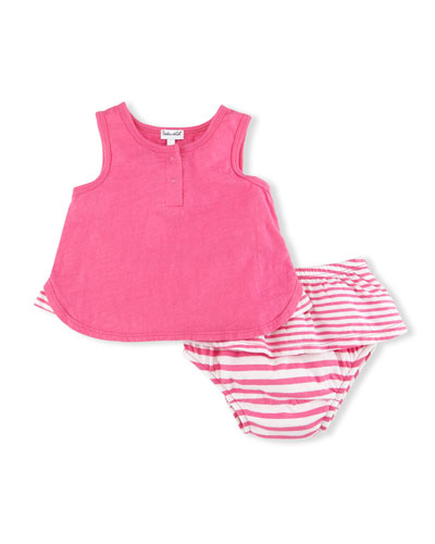 Snap-Front Jersey Tank w/ Skirted Bloomers, Pink, Size 3-24 Months
