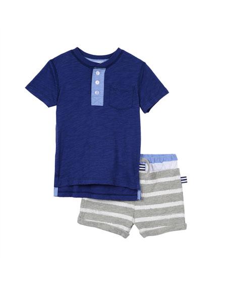 Splendid Short-Sleeve Henley Tee w/ Striped Shorts, Navy,