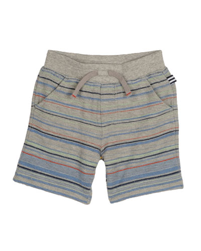 Striped Cotton-Blend Terry Shorts, Gray/Multicolor, Size 2T-7