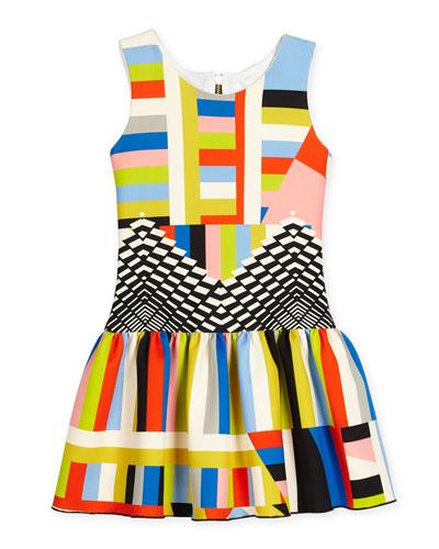 Sleeveless Geo-Print A-Line Scuba Dress, Multicolor, Size 7-16