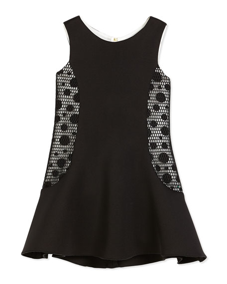Zoe Sleeveless Neoprene Fit-and-Flare Dress, Black/Cream, Size