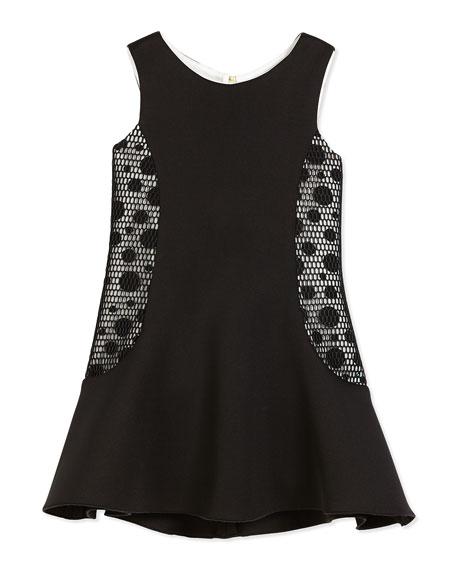 Zoe Sleeveless Neoprene Fit-and-Flare Dress, Black/Cream