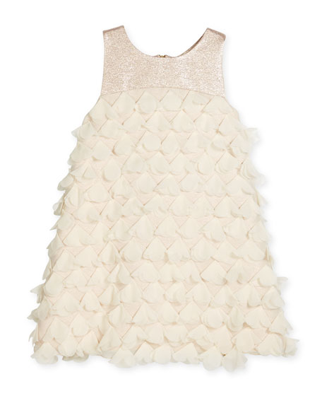 Zoe Sleeveless Metallic-Trim 3D Petal Shift Dress, Blush,