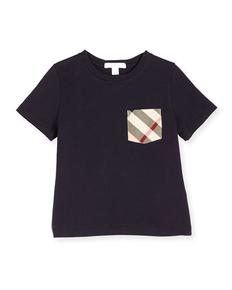 Burberry Callum Check-Pocket Jersey Tee, True Navy, Size