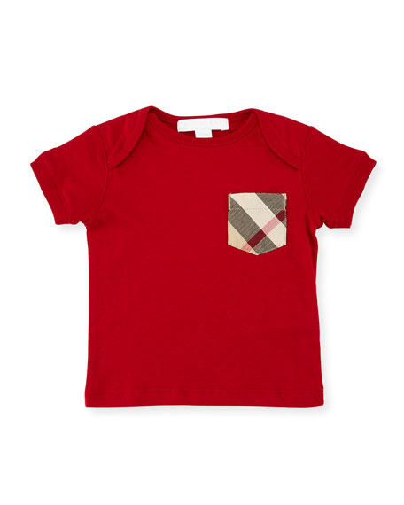 Burberry Callum Check-Pocket Jersey Tee, Military Red, Size
