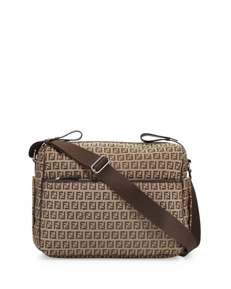 Fendi Leather-Trim Logo Diaper Bag, Brown