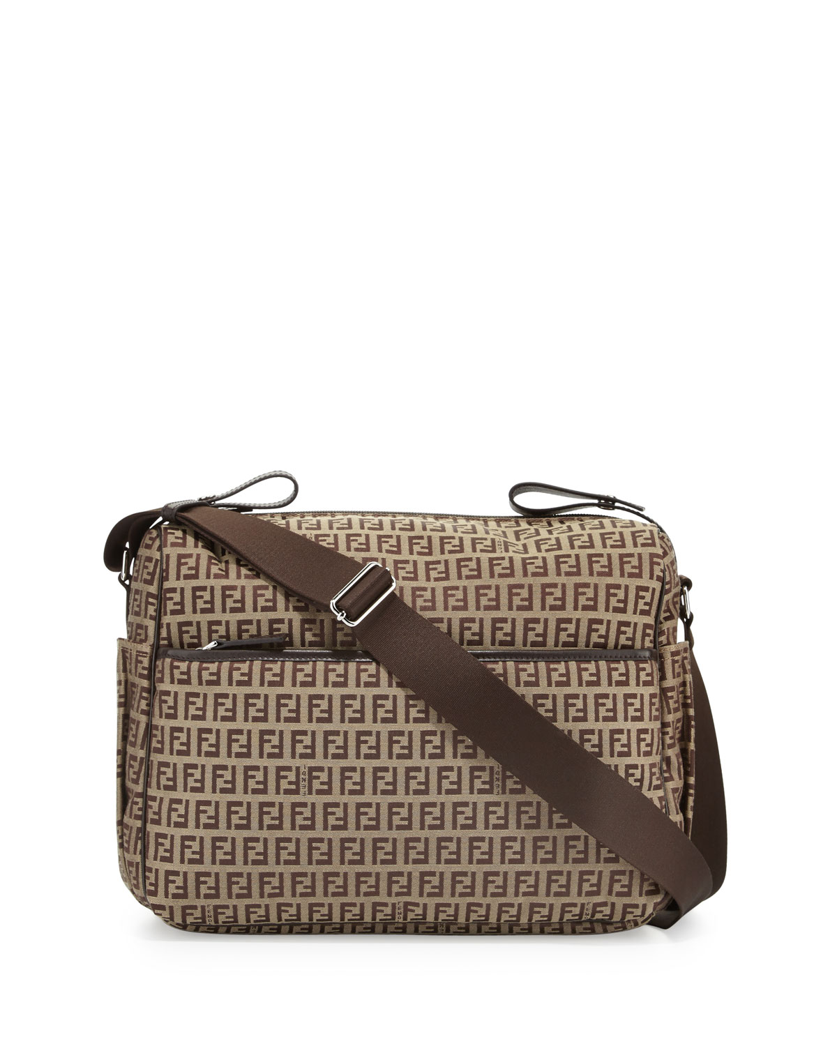 Leather Trim Logo Diaper Bag Brown