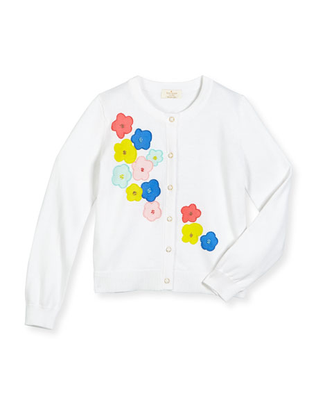 kate spade new york faye floral-embroidered cotton cardigan, fresh white, ...