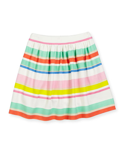 smocked striped jersey skirt, multicolor, size 7-14