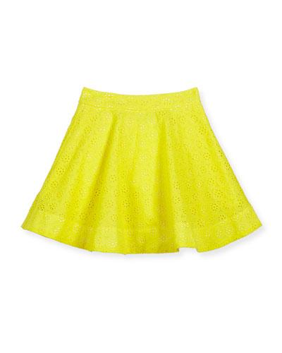coreen embroidered poplin circle skirt, yellow, size 7-14