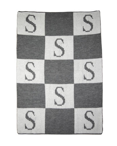 Personalized Check Colorblock Baby Blanket, Gray