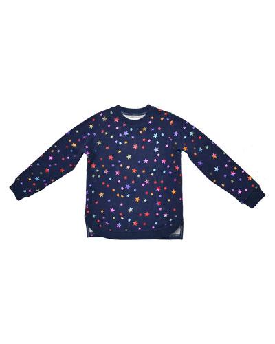 Clare Metallic Star Sweatshirt, Midnight Melange, Size 4-14