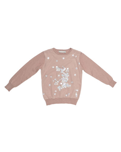 Kimberly Sequins and Stars Sweatshirt, Pink, Size 4-14