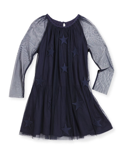 Misty Tulle Star-Patch Dress, Navy, Size 4-14