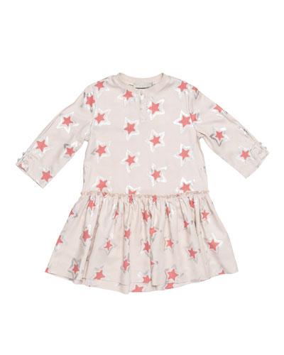 Cosmic Star Henley Jersey Dress, Pearl Pink, Size 8-14