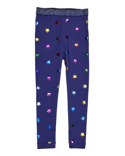 Tula Star-Print Leggings, Blue, Size 4-14