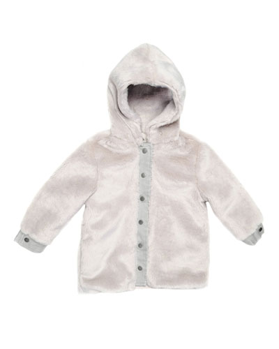 Treasure Hooded Faux-Fur Jacket, Light Gray, Size 8-14