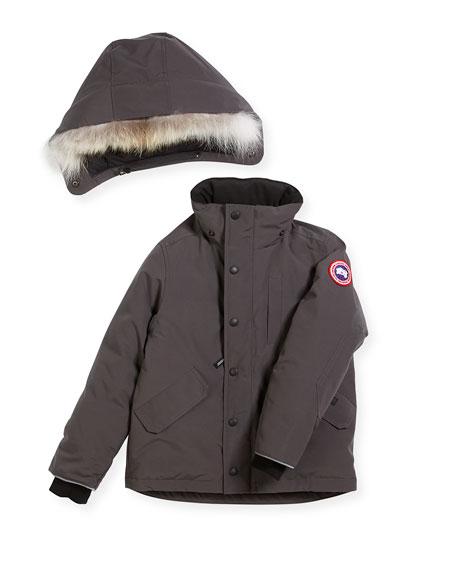 Boys' Logan Parka with Fur Trim, Size XS-XL